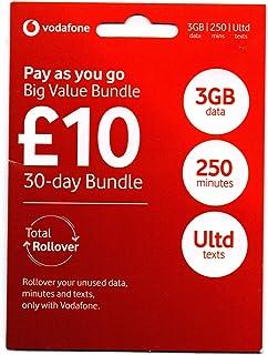 「Vodafone 」イギリス他ヨーロッパ各国対応 高速データ 無料通話 プリペイドSIMカード (30日間 3GB 250分無料通話)