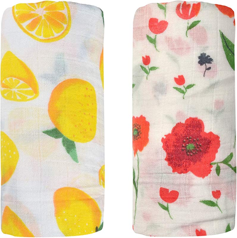 Bamboo Muslin Swaddle Square Blankets 2 Pack 47 X47 Rose Lemon Print Baby Receiving Blanket Wrap For Girl Shower Gift By Qav Juh Rose Lemon
