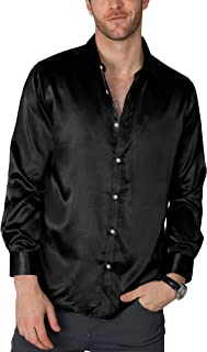 Sponsored Ad - VICALLED Men's Satin Luxury Dress Shirt Slim Fit Silk Casual Dance Party Long Sleeve Fitted Wrinkle Free Tu...