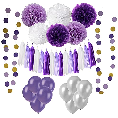 Wartoon 43 Pcs Paper Pom Poms Flowers Tissue Balloon Tassel Garland Polka Dot Paper Garland Kit for Birthday Wedding Party Decorations - Purple and Lavender,White for Mother's Day
