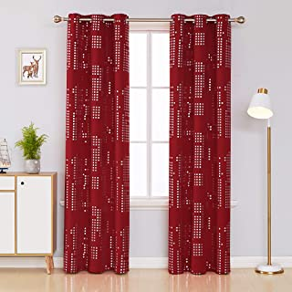 Deconovo Thermal Insulated Blackout Curtains for Bedroom Silver Print Energy Efficient Draperies Grommet Window Treatment Panels for Living Room, 38x84 Inch, Red