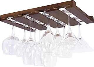Rustic State 4 Sectional Under Cabinet Wood Stemware Rack 12 Inch Deep (Chestnut)