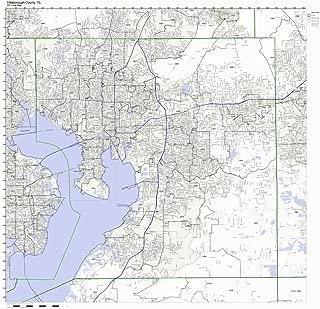 Hillsborough County, Florida FL ZIP Code Map Not Laminated