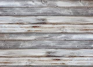 LYWYGG 8x6FT Thin Vinyl Grey Wood Backdrop Photographers Retro Wood Wall Background Cloth Seamless CP 174 0806