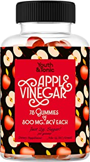 75 servings of ACV Gummies with Mother | 500mg Organic Raw Unfiltered Apple Cider Vinegar per Gummy & Vitamin B12 B9 B6 |A...