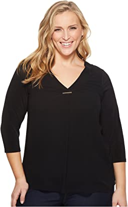 Calvin Klein Plus - Plus Size Long Sleeve V-Neck Top w/ Bar
