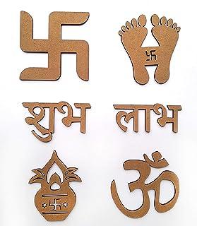 IVEI Paquete de MDF para Diwali y Festivales/Adornos/Sathiya/Subh Labh/Kalash/Om (tamaño mediano)