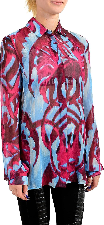 Just Cavalli Women's Multi-Color Button Down Shirt Blouse Top US S IT 40