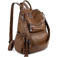 UTO Women Backpack Purse PU Washed Leather Convertible Ladies Rucksack  Tassel Zipper Pocket Shoulder Bag 7ef92f2a6c84b