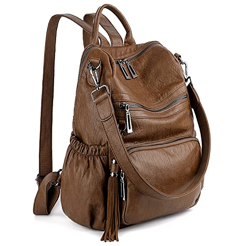 1955c07ed720f UTO Women Backpack Purse PU Washed Leather Convertible Ladies Rucksack  Tassel Zipper Pocket Shoulder Bag