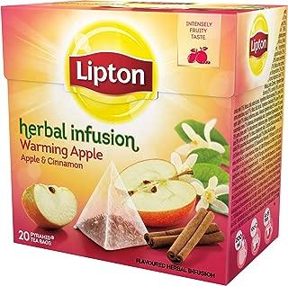 Lipton - APPLE & CINNAMON (Herbal Infusion) - 20 tea bags x (Pack 8 boxes = 160 count) Tea bags