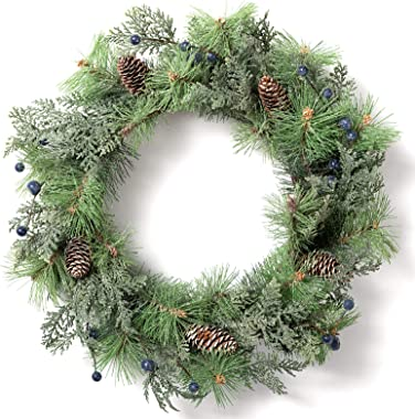 """LOHASBEE Artificial Christmas Wreath, 22"""" Pine Cone Grapevine Flocked Glitter Wreath with Blue Berries for Christmas Home Fro"""