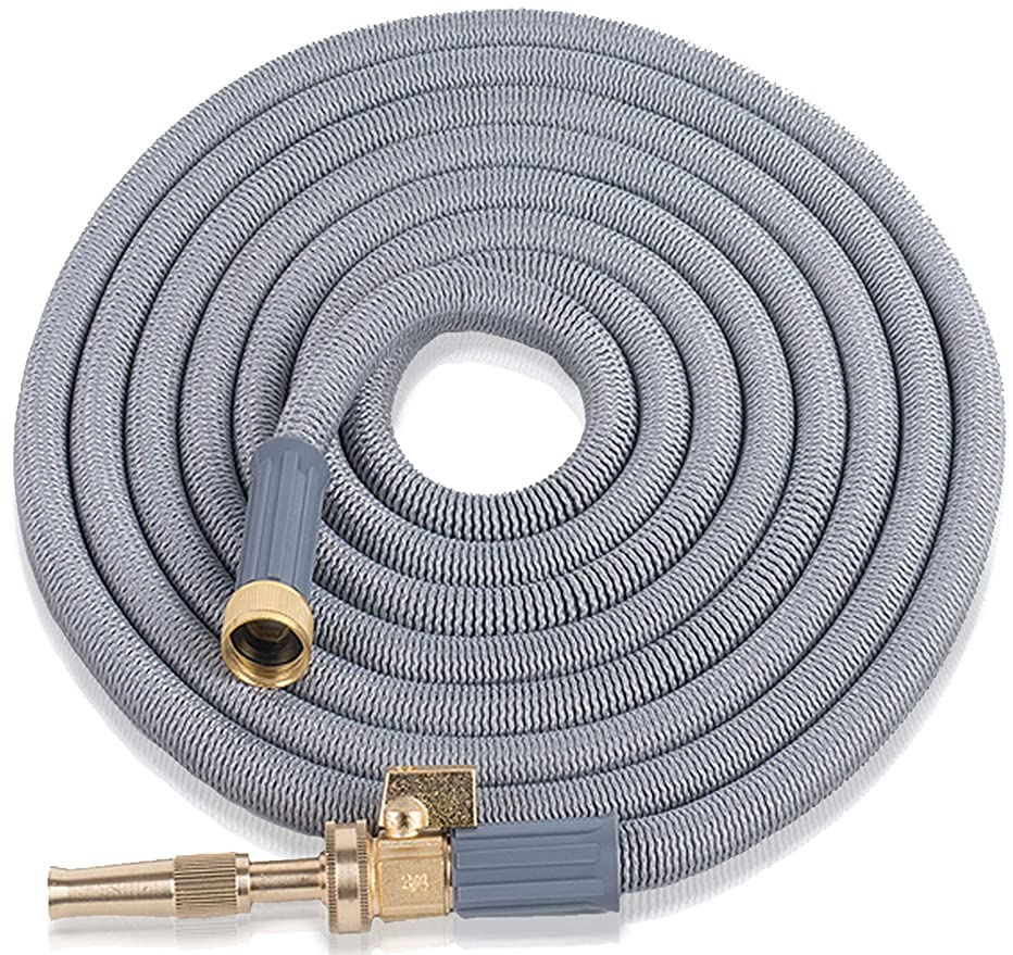Expandable Garden Hose 75 Ft. Long | Heavy Duty Water Hose | Heavy Duty Jet Nozzle |Retractable Hose for Gardening Car Wash RV Motorhome Camper Accessories Flexible Kink Free Marine Expanding Hose