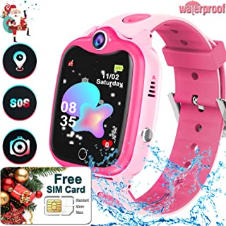 Kids Waterproof Smart Watch with SIM Card, GPS/LBS/WIFI Tracker Smartwatch Phone for Boys Girls Holiday Xmas Birthday Toys Gifts Touchscreen Watch Game|SOS Call|Camera|Alarm Clock Wristwatch-(Pink)