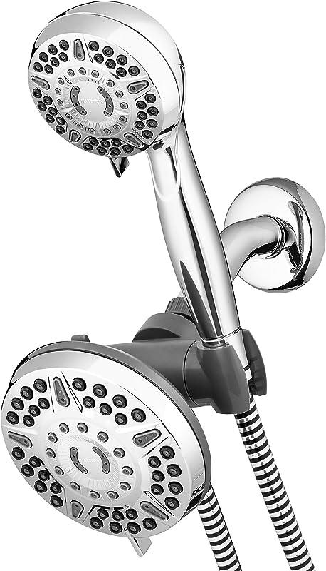 Waterpik High Pressure Shower Head Handheld Spray 2 In 1 Dual System With 5 Foot Hose PowerPulse Massage Chrome 2 5 GPM XET 633 643