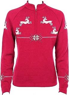 Norlender Women's Red 100% Norwegian Wool Reindeer Pullover Sweater w/ FREE 100% Wool Ski Cap