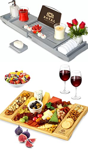 new arrival Luxury high quality online sale Bathtub Caddy Tray (Gray) and Unique Bamboo Cheese Board by Royal Craft Wood online sale