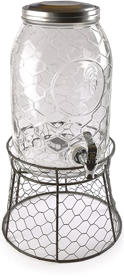Circleware 69142 Rooster Glass Beverage Dispenser with Metal Fence Stand and Lid Sun Tea Jar with Spigot Entertainment Kitchen Glassware Drink Water Pitcher for Kombucha Juice, 1.5 Gal