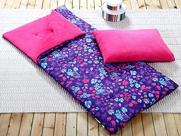 HowPlumb Sleeping Bag And Pillow Cover Purple Pink Teal Floral Indoor Outdoor Camping Youth Girls