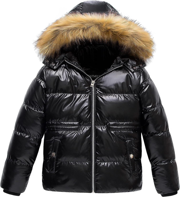 CREATMO US Girl's Kids Metallic Shiny Jacket with Detachable Fur Collar Warmth Winter Outerwear
