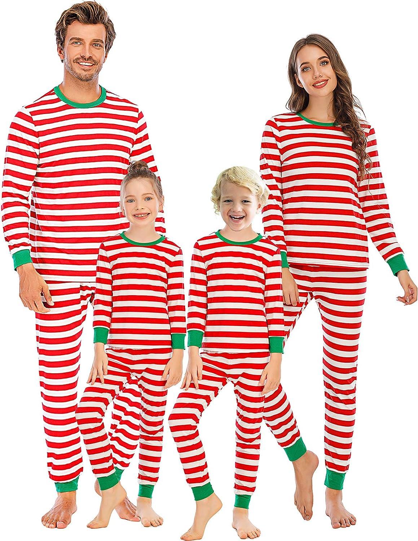Veseacky Family Matching Striped 2 Piece Christmas Pajamas Womens Mens Boys Girls Cotton Pjs Set