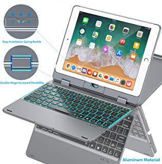 Keyboard Case Compatible with iPad 2018 (6th Gen)/2017 (5th Gen)/Pro 9.7/Air 2 & 1 | Double-Rotating Hinge & Aluminum Keyboard/Case | Colorful Backlit Keys & Long Working Time (Gray)