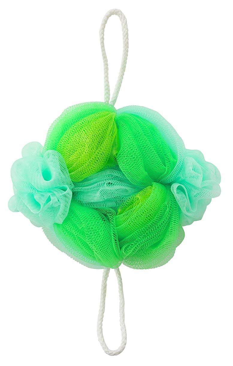 無限大遺体安置所報奨金マーナ ボディースポンジ 「背中も洗えるシャボンボール フラワー」 グリーン B588G