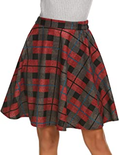 red tartan knee length skirt