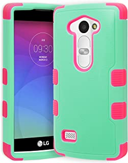 for LG H340 (Leon), H326 (Leon), H345 (Leon), C40 (Leon)/H320 Phone Case, Bastex Natural Teal Green/Electric Pink TUFF Hybrid Phone Protector
