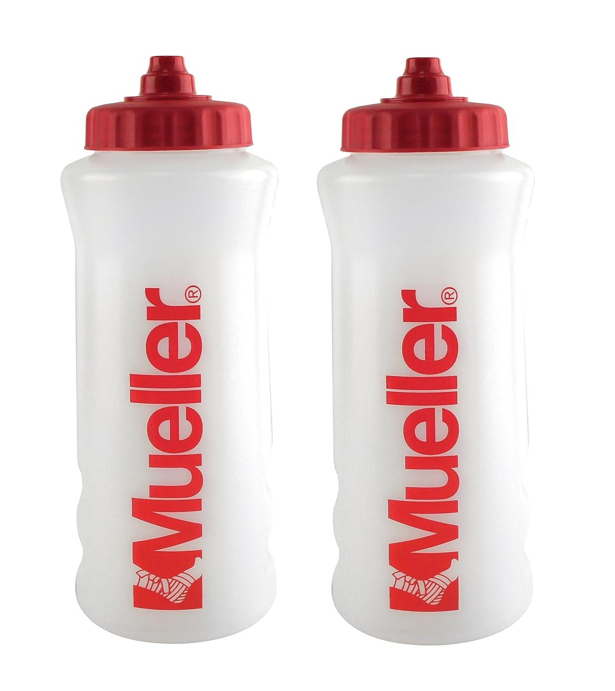 プラスチックマイク首尾一貫したMueller QuartボトルW / Sureshot Squeeze (新しいデザイン、ナチュラルカラーW /レッドLetters