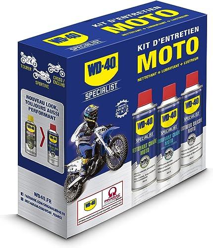 WD-40 Specialist Moto • Kit Entretien Moto • un Nettoyant Chaîne • un Lubrifiant Chaîne • un Lustreur Silicone • Solu...