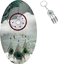 AWAYTR Forest Dreamcatcher Gift Handmade Dream Catcher Net with Feathers Wall Hanging Decoration Ornament (Peacock Feather Dream Catcher)