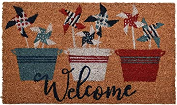 GAURI KOHLI Natural Coir Entryway Low Profile Doormat for Patio, Front Door; with Heavy-Duty Non-Slip PVC Backing; Flower ...