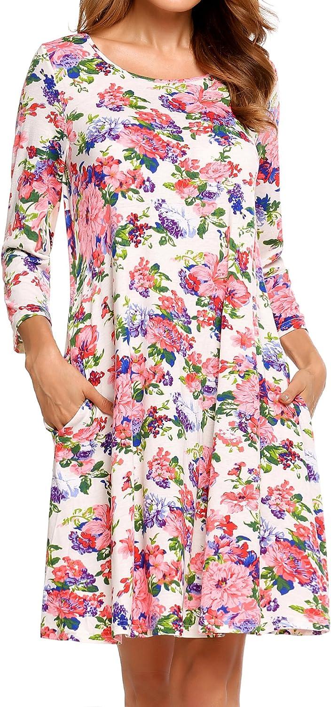 Beyove Women's Long Sleeve Floral Casual Shift Dress with Pockets Waist Swing Dress
