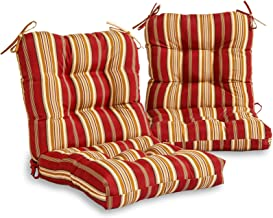 South Pine Porch AM6815S2-ROMASTRIPE Roma Stripe Outdoor Seat/Back Chair Cushion, Set of 2, Dark Red/Gold