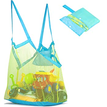 Mesh Beach Bag and Tote for Sand Toys Beach Net for Kids XL (Blue)