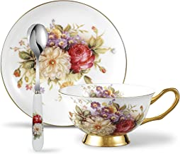 Panbado BC-CC-002 Bone China Tea Saucer Spoon Porcelain Coffee Cup Set 6.8 Ounce, Service for 1, Flower, 3 Piece Cup & Saucer, Daisy