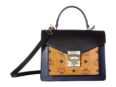 MCM Patricia Visetos Leather Block Satchel Small (Cognac/Navy Blue) Wallet