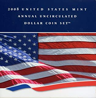2008 U.S. Mint Annual Uncirculated Dollar 6-Coin Set w/Burnished Silver Eagle $1 Brilliant Uncirculated OGP