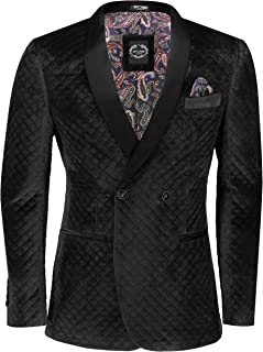 Mens Quilted Velvet Tuxedo Jacket Double Breasted Tailored Fit Smoking Dinner Blazer