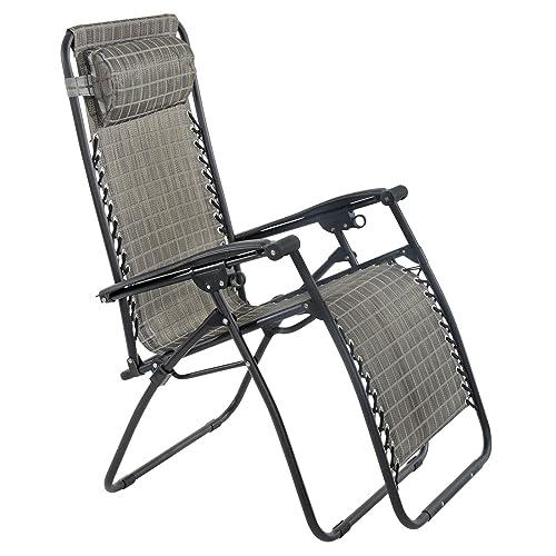 Azuma Zero Gravity Reclining Relaxer Chair Texteline Multi Position Sun Lounger Garden Outdoor Patio - Grey Check