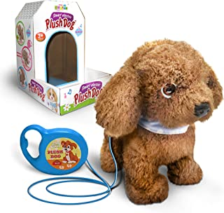 Kids Walking and Barking Puppy Dog Toy Pet with Remote Control Leash (Brown)