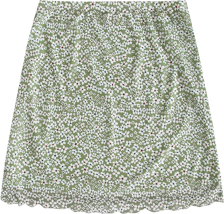 MakeMeChic Women's Boho High Waist Lettuce Trim Ditsy Floral Mesh Mini Skirt