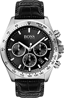 Hugo Boss Black Men's Black Dial Black Leather Watch - 1513752