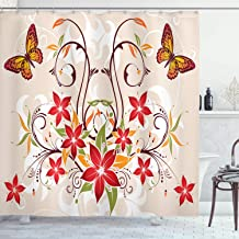 Ambesonne Floral Shower Curtain, Butterflies and Flourishing Swirled Blossoms Bouquet Botany Image, Cloth Fabric Bathroom Decor Set with Hooks, 70