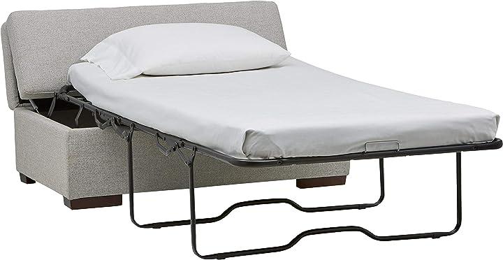 Divano letto amazon - rivet, ottomana, stile moderno, larghezza 122 cm, colore grigio chiaro AS-4055-SB-Storm