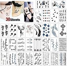 Konsait 30 Blätter Temporäre Tattoos für Frauen Männer,
