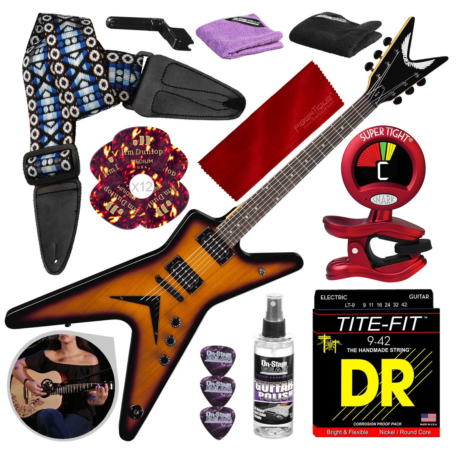 Cheap Dean MLX Electric Guitar Trans Brazilia with Guitar Strap Strings Picks Deluxe Accessory Bundle Black Friday & Cyber Monday 2019