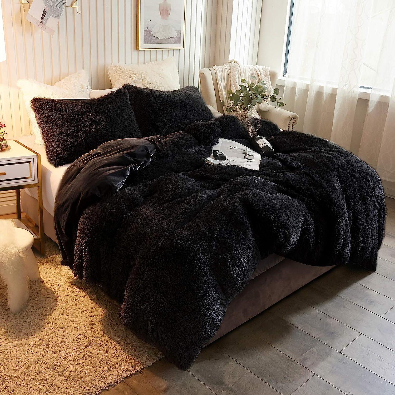 XeGe Popular popular Plush Shaggy Duvet Cover Luxury Soft Ultra Elegant B Crystal Velvet