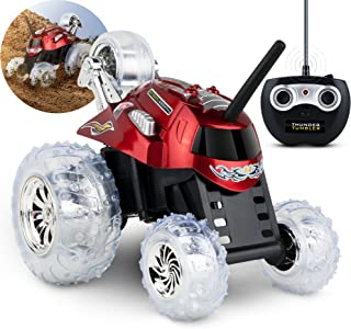 Black Series 27MHz Children's Remote Control Spinning 360° Rotating Car Toy for Boys/Girls, Stunt RC Race Truck, for Two-Vehicle Fun, Combine with Black, Incompatible with Blue- RED